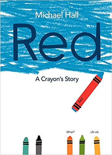 white cover with a crayon coloring blue all over it, but the crayon is labeled as red.