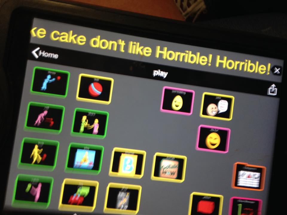 image of an iPad screen with blurry picture symbols and a message that reads: don't like Horrible Horrible!