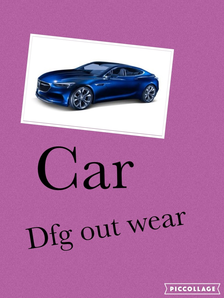 "purple background with blue car picture... black text reads ""Car dfg out wear"""