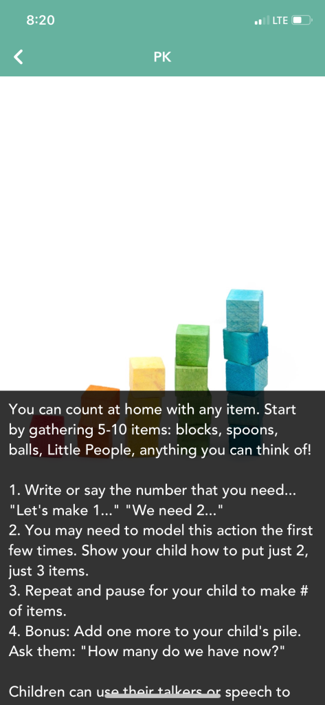 image of colorful blocks with text describing actions to do (let's make 1... model making 1... pause and let your child make the number)